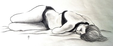 """45min Drawing - Pencil, Charcoal, and Marker @ 10""""x24"""""""